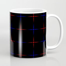 Bright dark blue and red stars on a black background. Coffee Mug