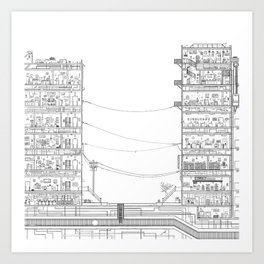 The Buildings on Birch Street (colorless version) Art Print