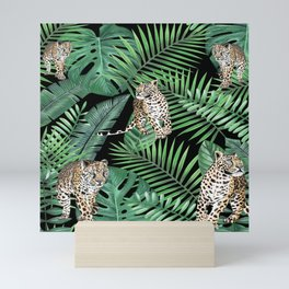 Leopards with tropical leaves pattern Mini Art Print
