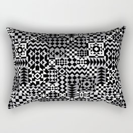 Grey Geo Patchwork Rectangular Pillow