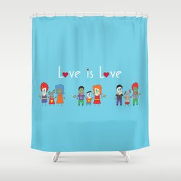 Love is Love Blue - We Are All Equal Shower Curtain