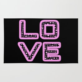 [Glittered Outline Effect Variant] Love's Simply Stylish [Black Background] Rug