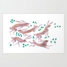 Lièvres Art Print