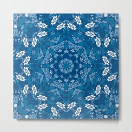 Blue Florals In A Mandala Formation Metal Print