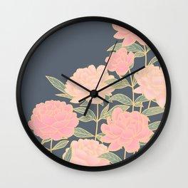 Pink peonies vintage pattern Wall Clock