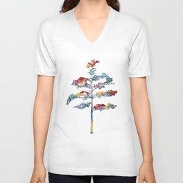 Pine tree #1 - multicoloured ink painting Unisex V-Neck
