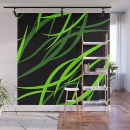 Pattern from colored intersecting flowing green lines in the nautical theme. Wall Mural