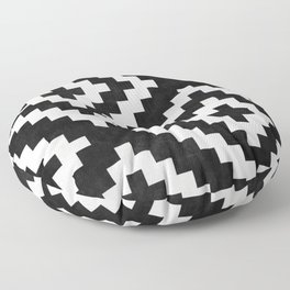 Urban Tribal Pattern No.17 - Aztec - Black and White Concrete Floor Pillow