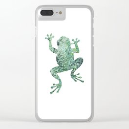 green lichen crawling frog silhouette Clear iPhone Case