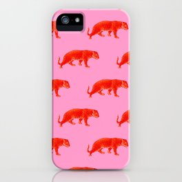 Vintage Cheetahs in Coral + Red iPhone Case