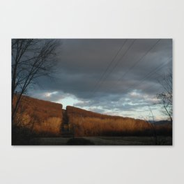 Powerlines through Mountain Canvas Print