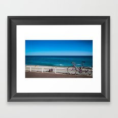Beach and the bike - Nice, France summer Framed Art Print