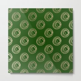 Forest green faux gold abstract geometrical swirls Metal Print