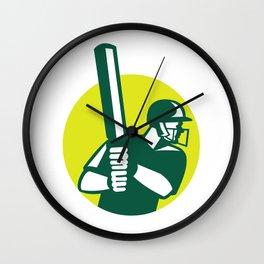 Cricket Batsman Batting Icon Retro Wall Clock