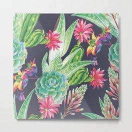 Succulents Flowers Plants Metal Print