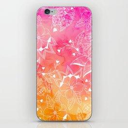 Modern summer pink orange sunset watercolor floral hand drawn illustration iPhone Skin