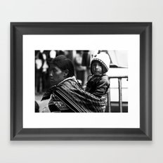 Mother and child in Peru Framed Art Print