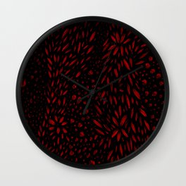 Foliage (Black on Red Variant) Wall Clock