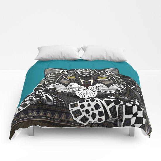 snow leopard teal Comforters