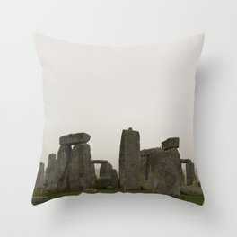 A Misty Morning at Stonehenge Throw Pillow