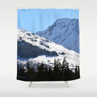 skiing Shower Curtains featuring Back-Country Skiing  - I by Alaskan Momma Bear