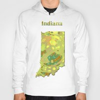 indiana Hoodies featuring Indiana Map by Roger Wedegis