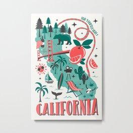 California Map Metal Print