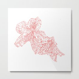 azalea drawing, red Metal Print