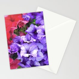 Violet-Purple And Ruby Red Petunia Flowers Stationery Cards
