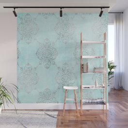 Vintage Teal Damask Wall Mural