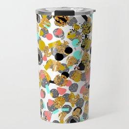 LOLA - abstract art painting modern trendy colors, gold foil, dots pattern decor Travel Mug