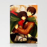 shingeki no kyojin Stationery Cards featuring Shingeki no Kyojin ~Eren & Mikasa~ by eriboook