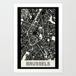 Brussels, Belgium, city map, Black Art Print