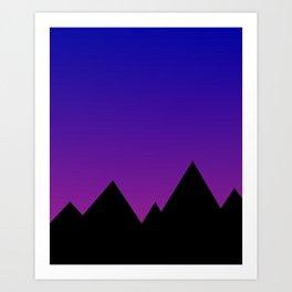 Mountains at Sunset (Blue & Magenta) Art Print