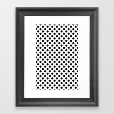 Black and white polka dots Framed Art Print