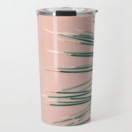 Green on Coral | Botanical modern photography print | Tropical vibe art Travel Mug