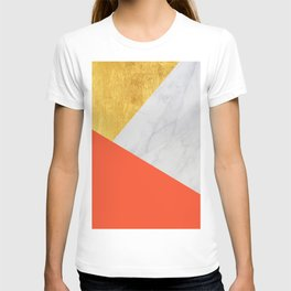 Carrara Marble with Gold and Pantone Flame Color T-shirt