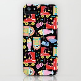 Roller Skate Party Black Background iPhone Case