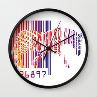 zebra Wall Clocks featuring zebra  by mark ashkenazi