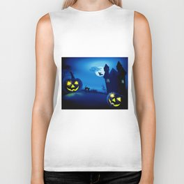 Background with pumpkins in Halloween party Biker Tank