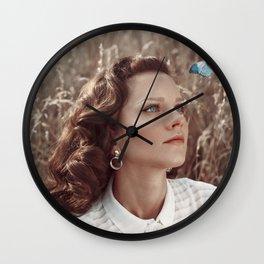 Blue Butterfly Portrait Wall Clock