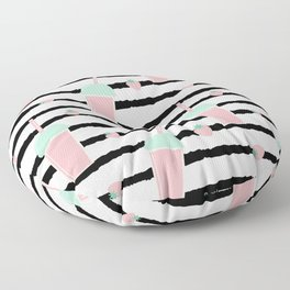 cute lovely pattern background with strawberry smoothies on black brush Floor Pillow