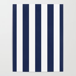 Space cadet blue - solid color - white vertical lines pattern Poster