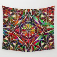 flower of life Wall Tapestries featuring Flower of Life variation by Klara Acel