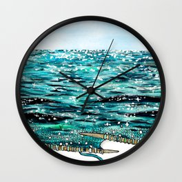 sparkling knitted seascape watercolor Wall Clock