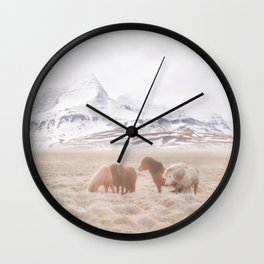 WILD AND FREE 3 - HORSES OF ICELAND Wall Clock