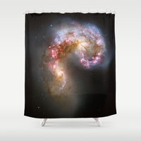 nasa Shower Curtains featuring Bright nebula galaxy stars cluster hipster geek cool space star nebulae NASA photo sci-fi landscape by iGallery