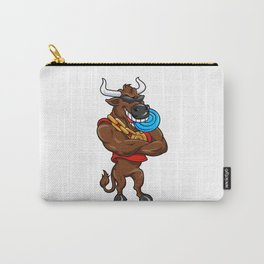 Happy cartoon bull with a blue Frisbee Carry-All Pouch