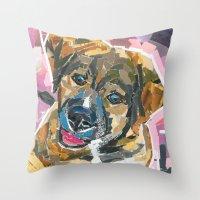 emily rickard Throw Pillows featuring Emily by Maritza Hernandez