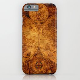 Peace on Earth Antique Map Art iPhone Case